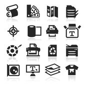 Print icons set elegant series — Stock Vector