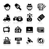 Reporter icons set - elegant series — Stock Vector
