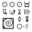 Clocks Icons set elegant series — ストックベクタ