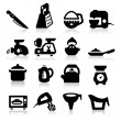 Kitchen utensil icons set. Elegant series - Image vectorielle