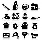 sistema de iconos de utensilio de cocina. elegante serie — Vector de stock