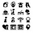 Women Health Care Icons — Vector de stock #24539881
