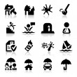 Insurance icons set Elegant series — Image vectorielle