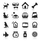 Pets icons set Elegant series — Stock Vector