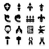 Ijzer werkt pictogrammen — Stockvector