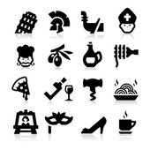 Iconos de la cultura italiana — Vector de stock