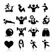 Exercising Icons — Stock Vector