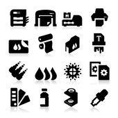 Utskrift ikoner — Stockvektor