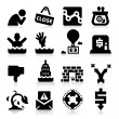Business Failure Icons — Stock Vector