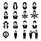 Businessman and businesswoman Icons — Stock Vector