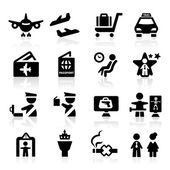 Airport icons set Elegant series — Stock Vector
