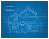 Wooden house Blueprint — Stock Vector