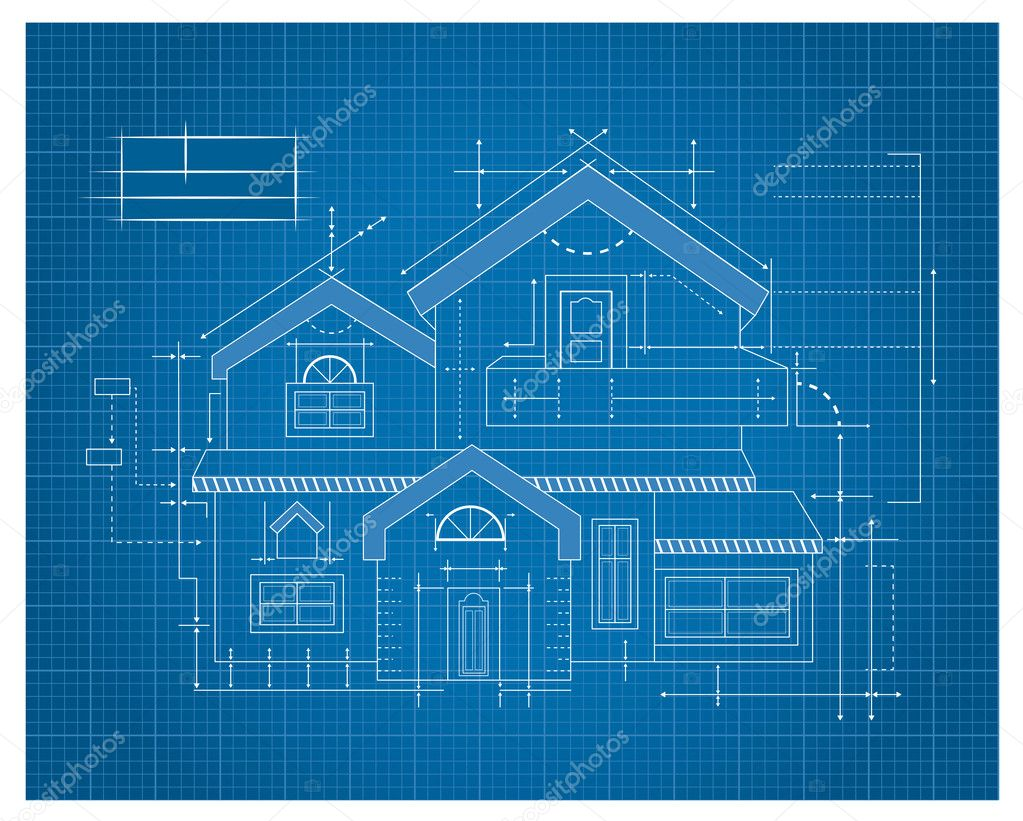 Wooden house blueprint stock vector tantoon 32897387 for Blueprints for my home