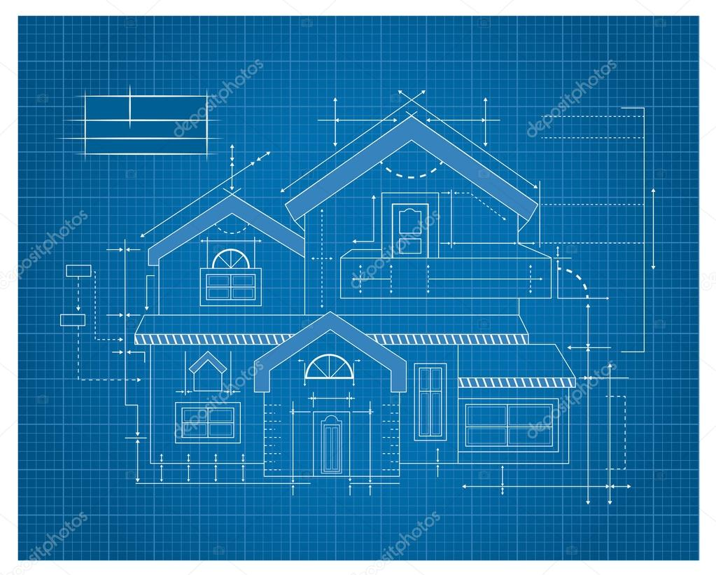 Wooden house blueprint stock vector tantoon 32897387 for House blueprint images