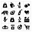 Organic Food Icons — Vector de stock #35103603