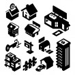 Real Estate Icons Isometric — Stock Vector