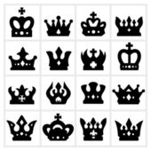 Crown icon - black crown icons set on white background — Stock Vector