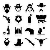 Cowboy Icons — Stock Vector