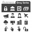 Stock Vector: Business Icons Gray Series