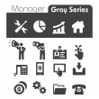 Manager Icons Gray Series — Stock Vector