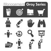Beheer pictogrammen grijze serie — Stockvector