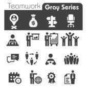 Teamwork Icons Gray Series — Stock Vector