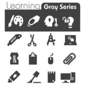 Learning Icons Gray Series — Stock Vector