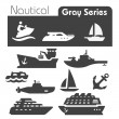 Nautical icons gray series — Stock Vector