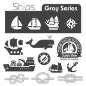 Ships icons gray series — Stock Vector