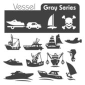 Vessels Icons Gray Series — Stock Vector
