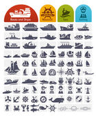 Ships and Boats Icons Bulk series -  over 80 high quality icons — Stock Vector