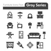 Furniture Icons gray series four — Stock Vector