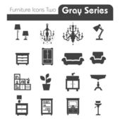 Furniture Icons gray series two — Vettoriale Stock