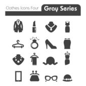Clothes Icons Gray Series Four — Stock Vector
