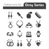 Clothes Icons Gray Series Six — Stock Vector