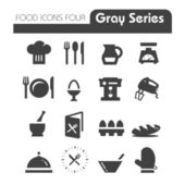 Food Icons Gray Series Four — Stock Vector