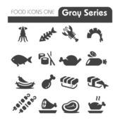 Meat Icons Gray Series — Stock Vector