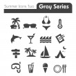 Summer Icons Two gray series Two — Stock Vector
