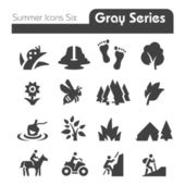 Summer Icons Four gray series  — Stock Vector