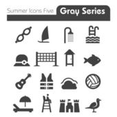 Summer Icons Five gray series — Stock Vector