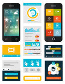 Set of flat mobile elements, flat mobile phones and flat design  — Stock Vector