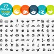 77 High quality food icons, including meat, vegetable, fruits, s — Stock Vector