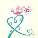 Bird and heart decoration — Stock Vector #47549433