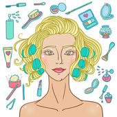 Cosmetic fashion curly girl. — Stock Vector