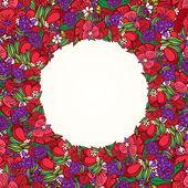 Poppy flower wreath — Stock Vector