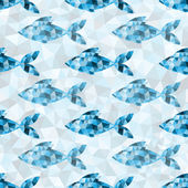 Geometric blue fish pattern — Stock Vector
