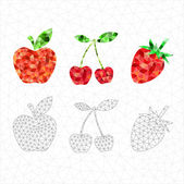Set of red geometric fruits. — Stock Vector