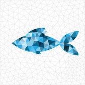 Geometric blue fish — Stock Vector