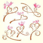 Bird and heart decoration — ストックベクタ