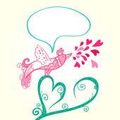 Bird and heart decoration — Stock Vector